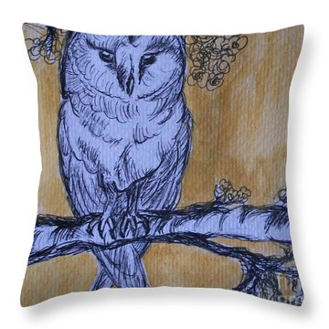 Throw Pillow featuring the painting Barn Owl by Teresa White