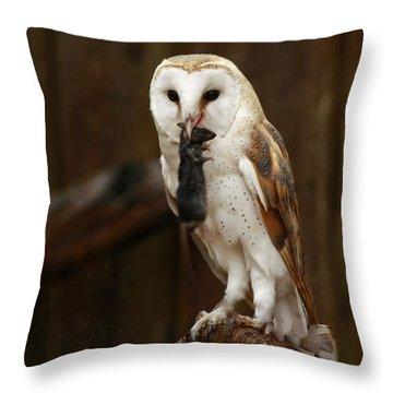 Barn Owl With Catch Of The Day Throw Pillow by Inspired Nature Photography Fine Art Photography