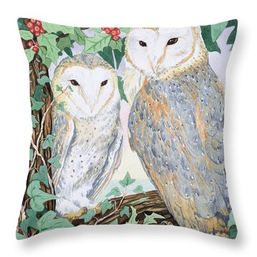 Barn Owls Throw Pillow by Suzanne Bailey