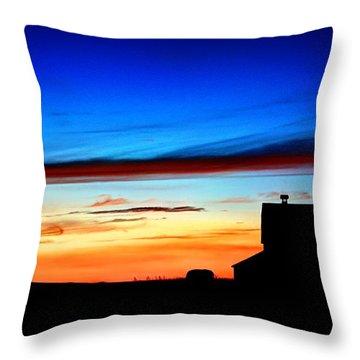 Barn Sunset Throw Pillow