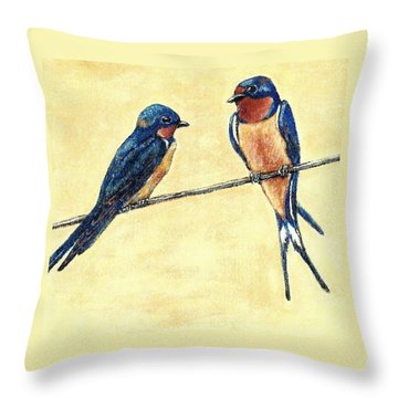 Barn-swallow Pair Throw Pillow by VLee Watson
