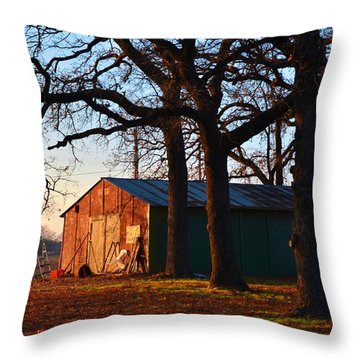 Barn Under Oak Trees Throw Pillow