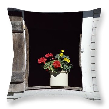 Throw Pillow featuring the photograph Barn Window Flowers by Alan L Graham
