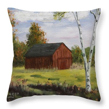 Barn With Lone Birch Throw Pillow