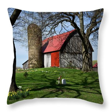 Barn With Silo In Springtime Throw Pillow