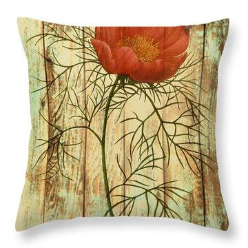 Barn Wood Texture Poppy Flower Botanical Art Throw Pillow by Cranberry Sky