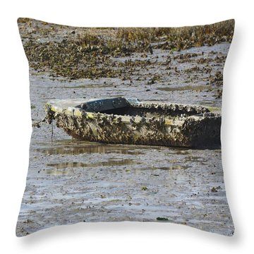 Barnacle Covered Boat Throw Pillow by Dan Williams