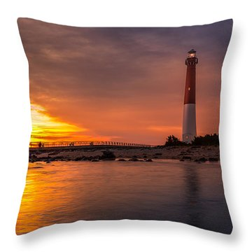 Barnegat Sunset Light Throw Pillow by Mihai Andritoiu