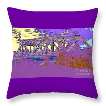 Barnes Ave Erie Canal Bridge Throw Pillow