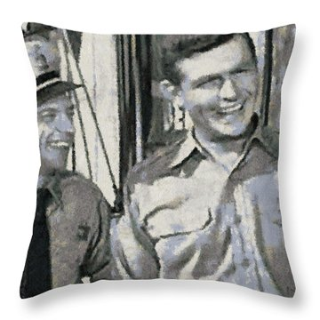Barney Fife And Andy Taylor Throw Pillow