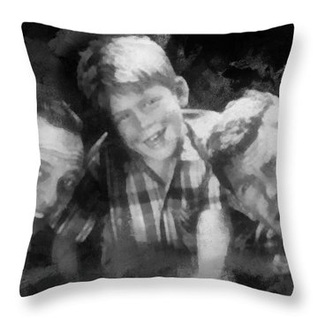 Barney Opie And Andy Throw Pillow by Paulette B Wright