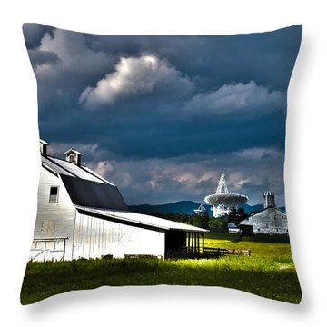 Barns And Radio Telescopes Throw Pillow