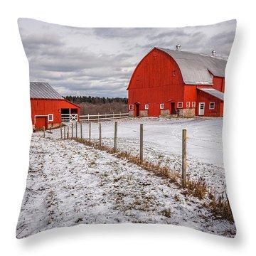 Barns Of New York Throw Pillow