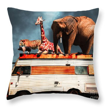 Barnum And Baileys Fabulous Road Trip Vacation Across The Usa Circa 2013 5d22705 With Text Throw Pillow