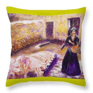 Barnyard Breakfast...chickens And Pigs Throw Pillow by Seth Weaver