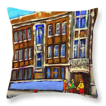 Baron Byng High School 4251 St. Urbain Street Plateau Montreal City  Scene Carole Spandau Montreal A Throw Pillow by Carole Spandau