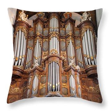 Baroque Grand Organ In Oude Kerk In Amsterdam Throw Pillow