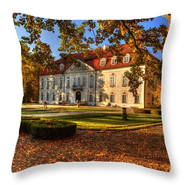 Baroque Palace In Nieborow In Poland During Golden Autumn Throw Pillow