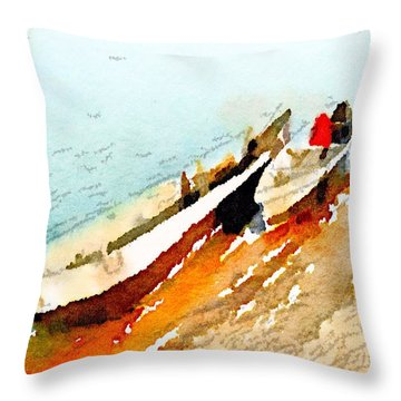 Barques Sur Le Chari Throw Pillow