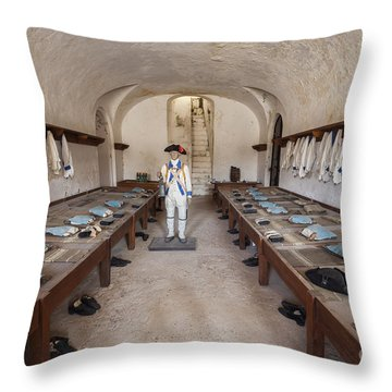 Throw Pillow featuring the photograph Barracks At Fort San Cristobal by Bryan Mullennix