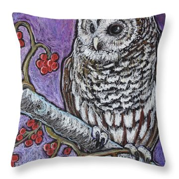 Barred Owl And Berries Throw Pillow