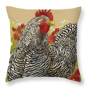 Barred Rock Rooster In The Geraniums Throw Pillow by Tracie Thompson