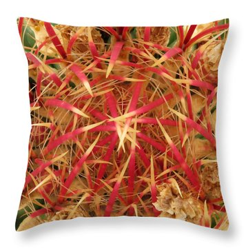 Throw Pillow featuring the photograph Barrel Cactus by Laurel Powell