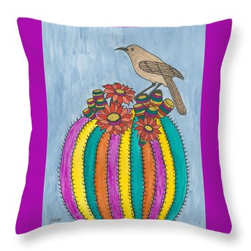Throw Pillow featuring the painting Barrel Of Cactus Fun by Susie Weber