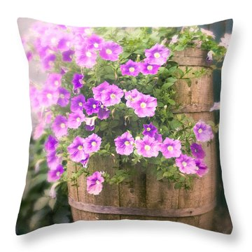 Throw Pillow featuring the photograph Barrel Of Flowers - Floral Arrangements by Gary Heller