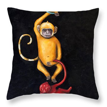 Barrel Of Monkeys Throw Pillow by Leah Saulnier The Painting Maniac