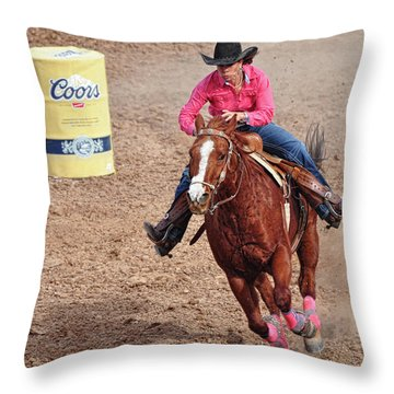 Throw Pillow featuring the photograph Barrel Rider by Barbara Manis