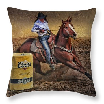 Barrel-rider Cowgirl Throw Pillow