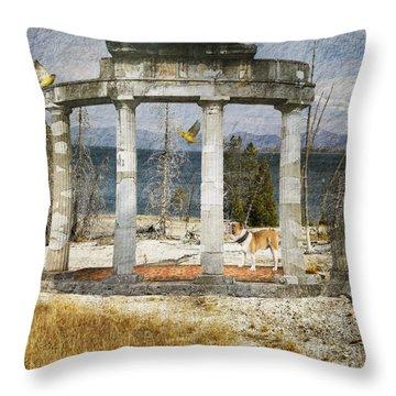 Throw Pillow featuring the digital art Barren Shoreline by Liane Wright