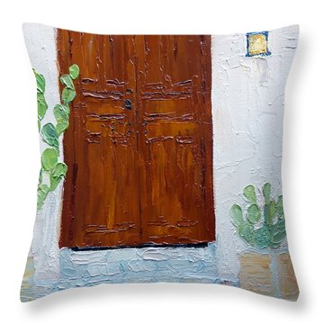 Barrio Doorway Throw Pillow by Susan Woodward