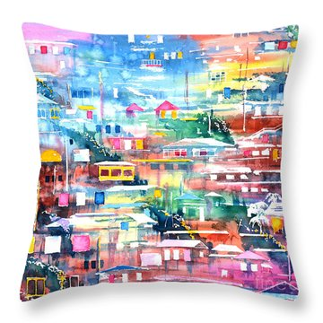 Barrio El Cerro De Yauco Throw Pillow by Zaira Dzhaubaeva