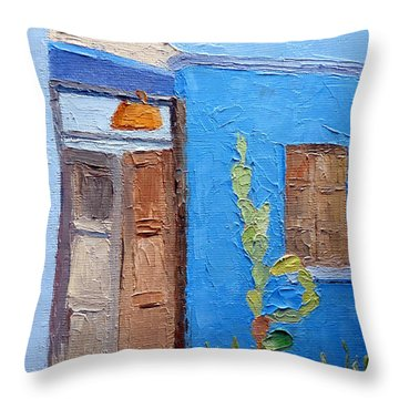 Barrio Gateway Throw Pillow by Susan Woodward