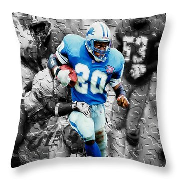 Barry Sanders Breaking Out Throw Pillow