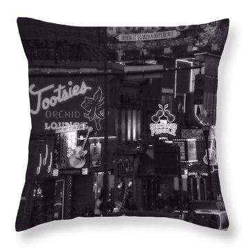 Bars On Broadway Nashville Throw Pillow by Dan Sproul