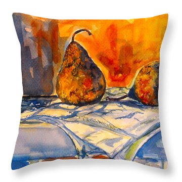 Bartlett Pears Throw Pillow by Kendall Kessler