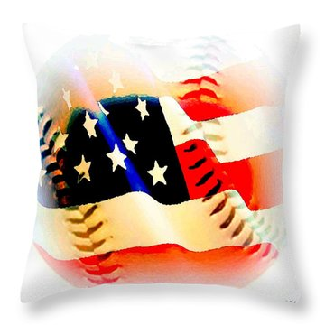 Baseball And American Flag Throw Pillow by Annie Zeno