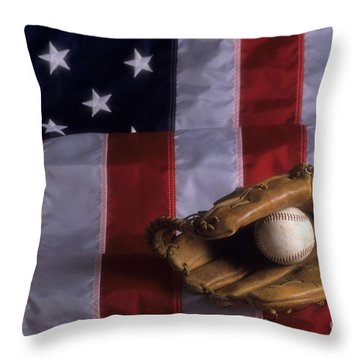 Baseball And American Flag Throw Pillow