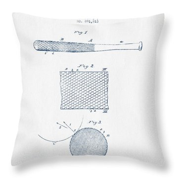 Baseball Bat Patent Drawing From 1904 - Blue Ink Throw Pillow