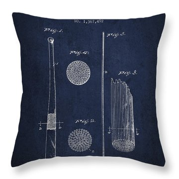 Baseball Bat Patent Drawing From 1921 Throw Pillow