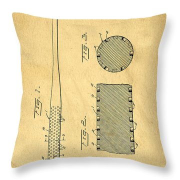 Baseball Bat Patent Throw Pillow by Edward Fielding