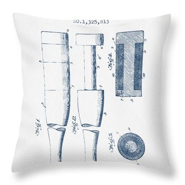 Baseball Bat Patent From 1919 - Blue Ink Throw Pillow by Aged Pixel