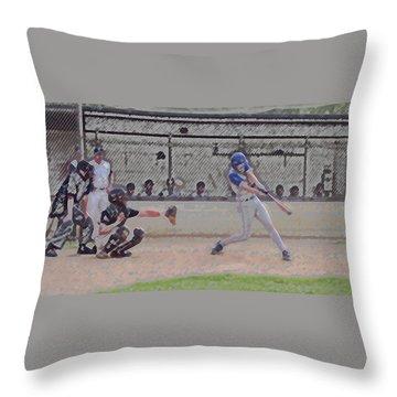 Baseball Batter Contact Digital Art Throw Pillow by Thomas Woolworth