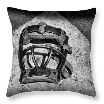 Baseball Catchers Mask Vintage In Black And White Throw Pillow