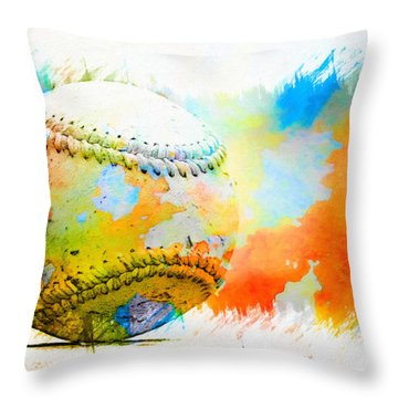Baseball- Colors- Isolated Throw Pillow by Kenny Francis