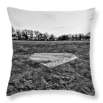 Baseball - Home Plate - Black And White Throw Pillow by Paul Ward