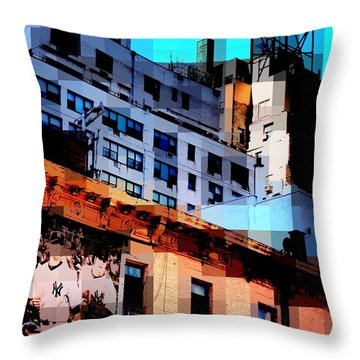 Baseball Is Coming - Watertower And Sports Poster Throw Pillow by Miriam Danar